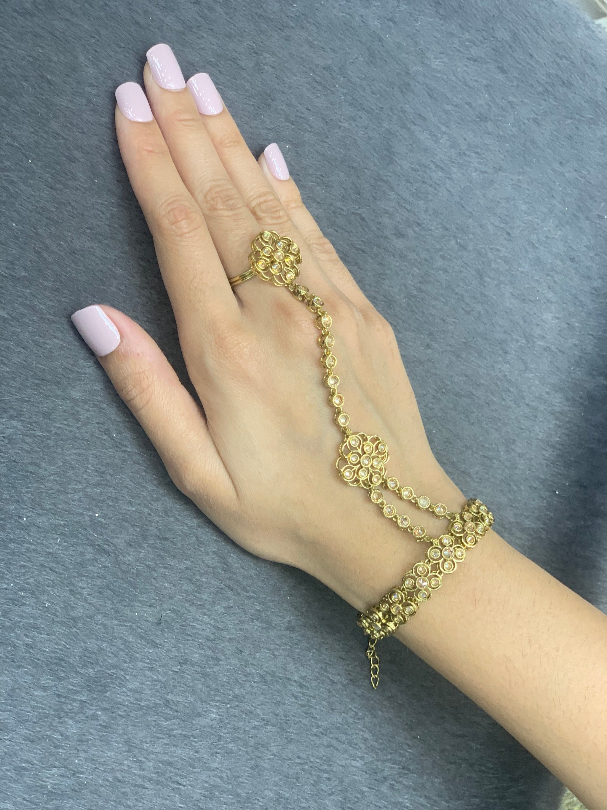 Gold Indian  hand jewelry (set of 2) Wedding bridal accessories, Adjustable ring & bracelet,Traditonal hathphool/hand panja,