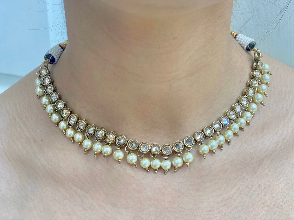 Antique gold bridesmaids necklace with earrings