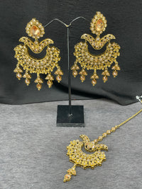 Antique Gold Kundan Chand Bali Earrings w/ Maangtikka