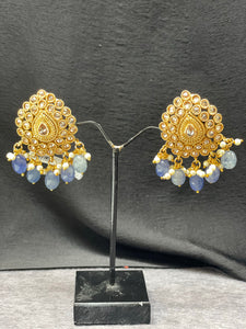 Antique Gold Stud Earrings w/ Light Blue Beads