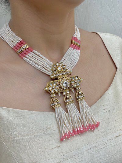 Kundan Necklace Set In Pearl Mala W/Earrings NS2