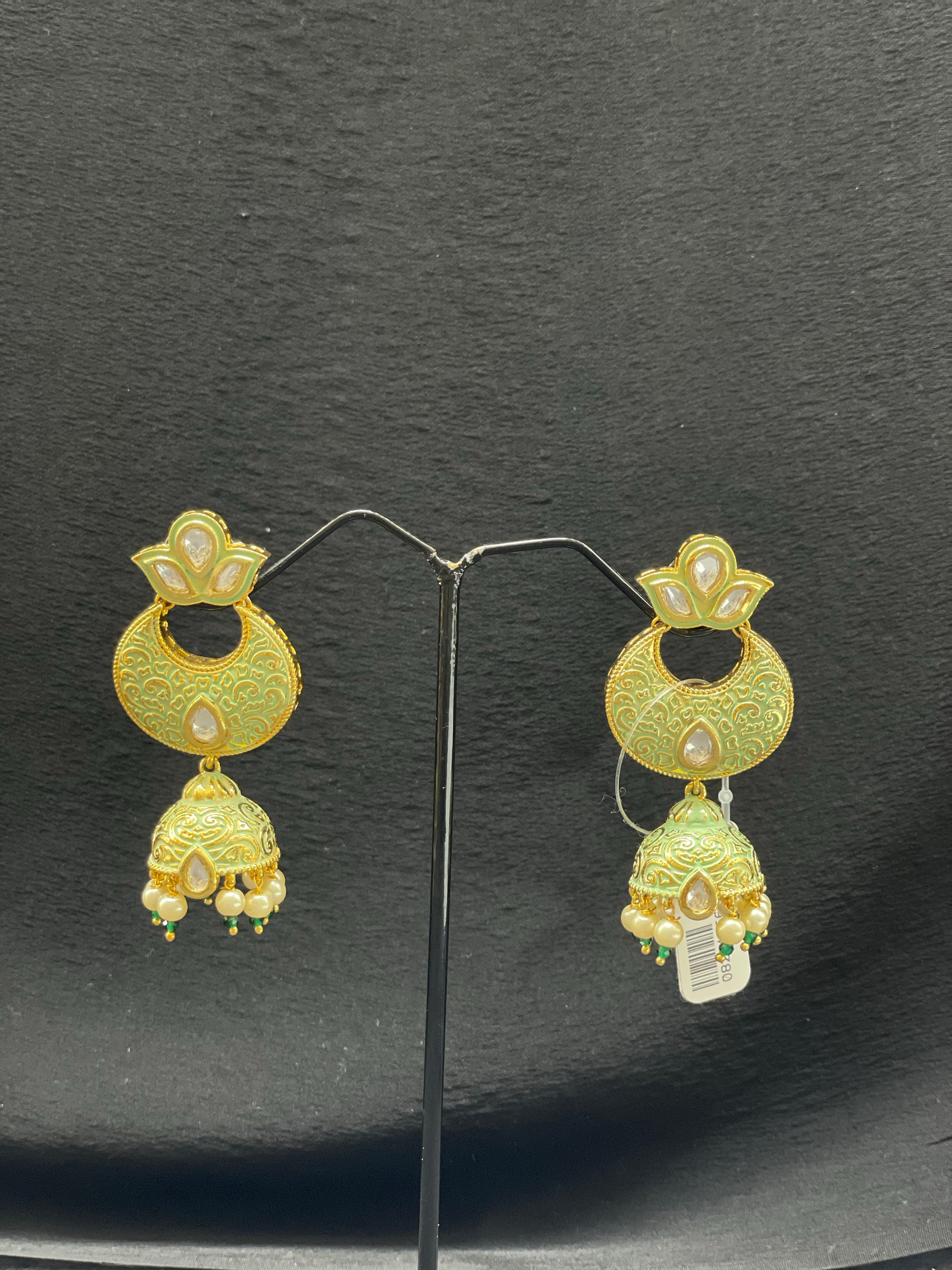 Traditional Meenakari Chand Bali Earrings w/ Kundan & Pearls Accents