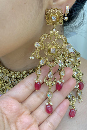 Chetna Antique Gold Bridal Jewelry W/Maroon Accents