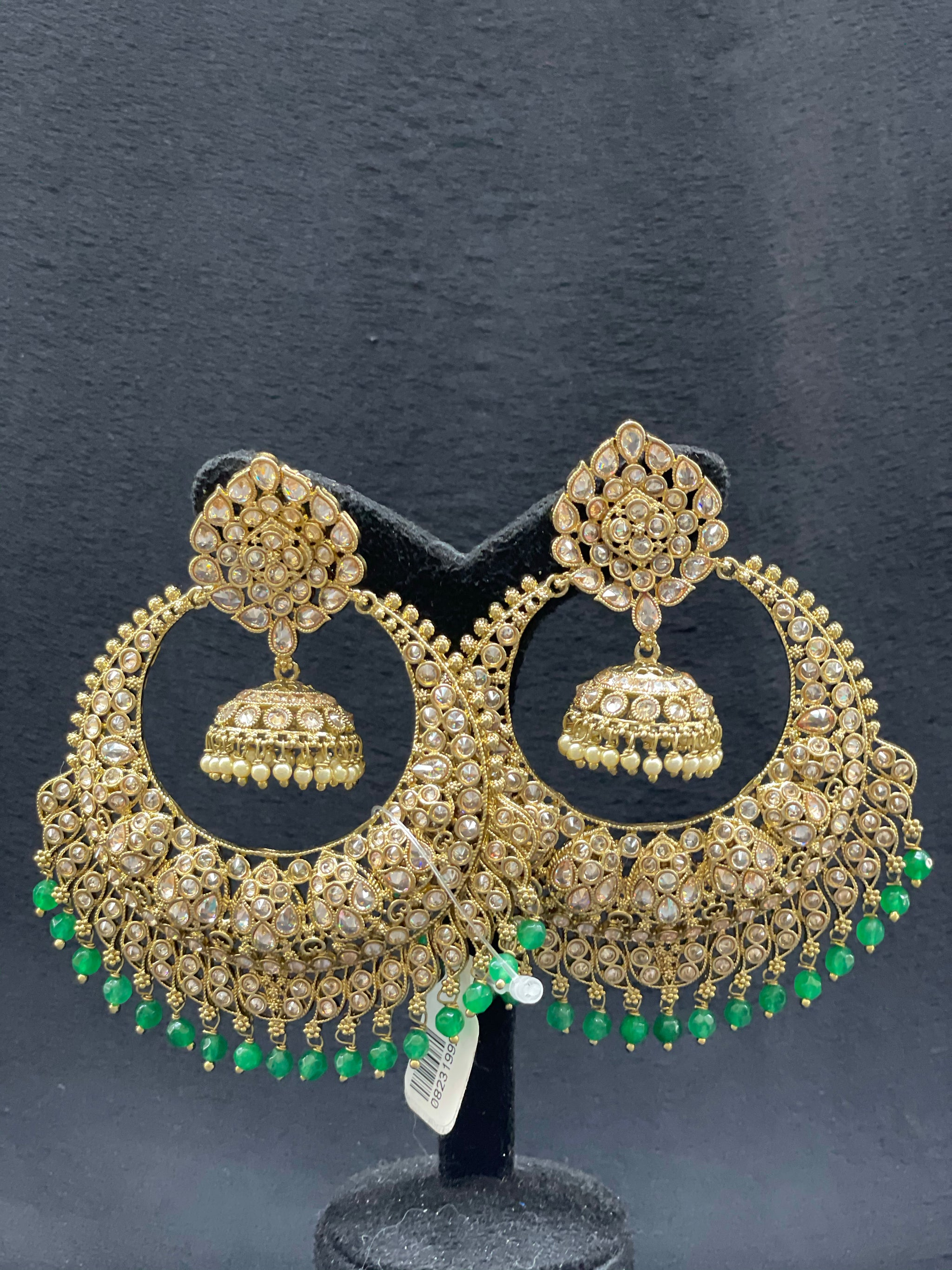 Antique gold layered earring with green beads