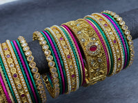 Traditional Gold Bangles with Ruby Accents and Polki Stones, Size 2.6