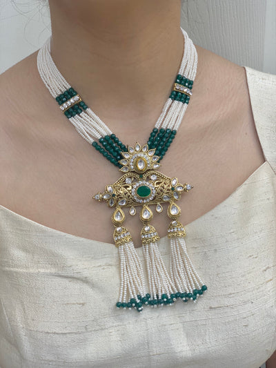 Kundan Necklace Set In Pearl Mala W/Earrings NS3
