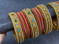 Gold Bangles Set with Multicolor Adjustable Bangles, Size 2.6