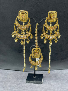 Antique Gold Chand Bali Earrings & Maangtikka w/ Pearl Accents,