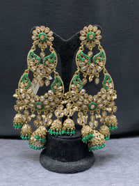 long jhumka earring with emerald green accents