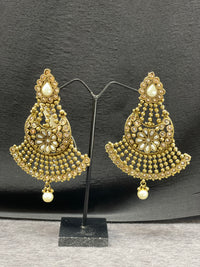 Antique Long Gold Earrings w/ Pearl Accent