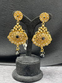 Bright Gold Earring w/ Black Beads