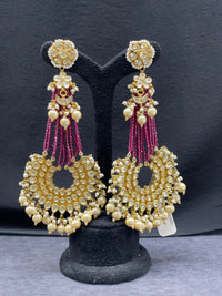 Antique Gold Kundan Earrings w/Pearl Accents