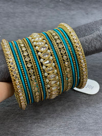 Antique Gold Custom Bangle Set with Polki Stones