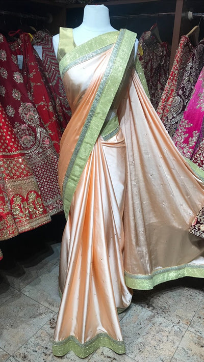 Peach Satin Bridesmaid's Saree