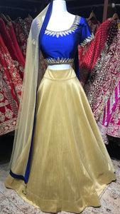 Royal Blue and Gold Bridesmaid's Lehenga