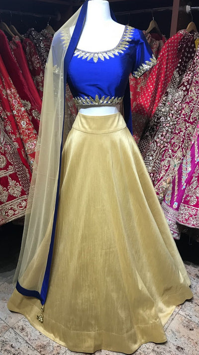 Royal Blue and Gold Bridemaid's Lehenga