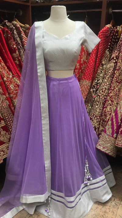 Silver and Lilac Bridemaid's Lehenga