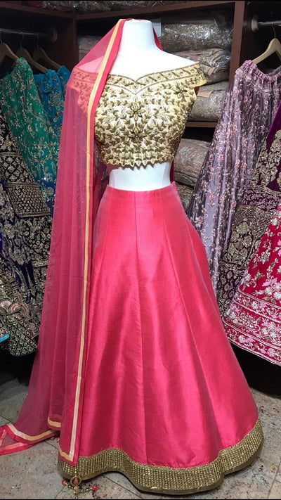Peach and Coral Lehenga