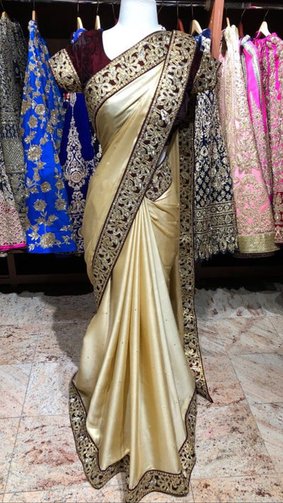 Gold and Burgundy Bridesmaid's Saree