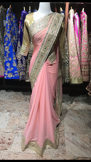 Soft Pink Bridesmaid's Saree