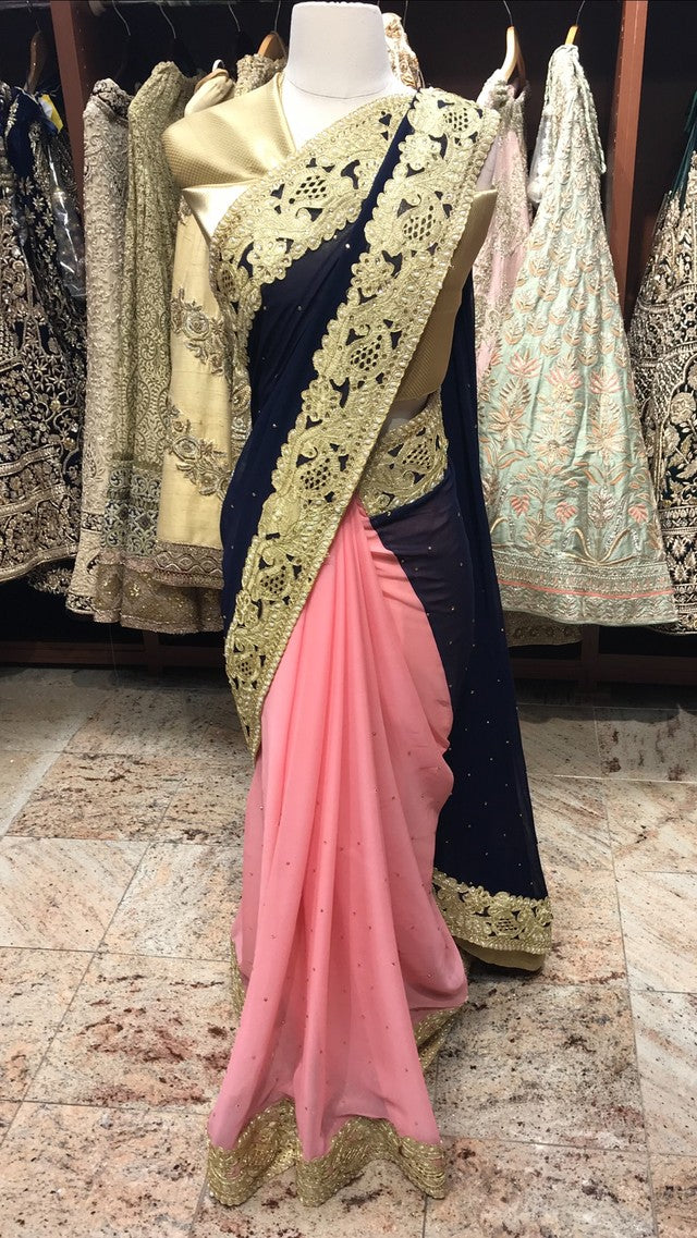 Navy Pink Bridesmaid's Saree
