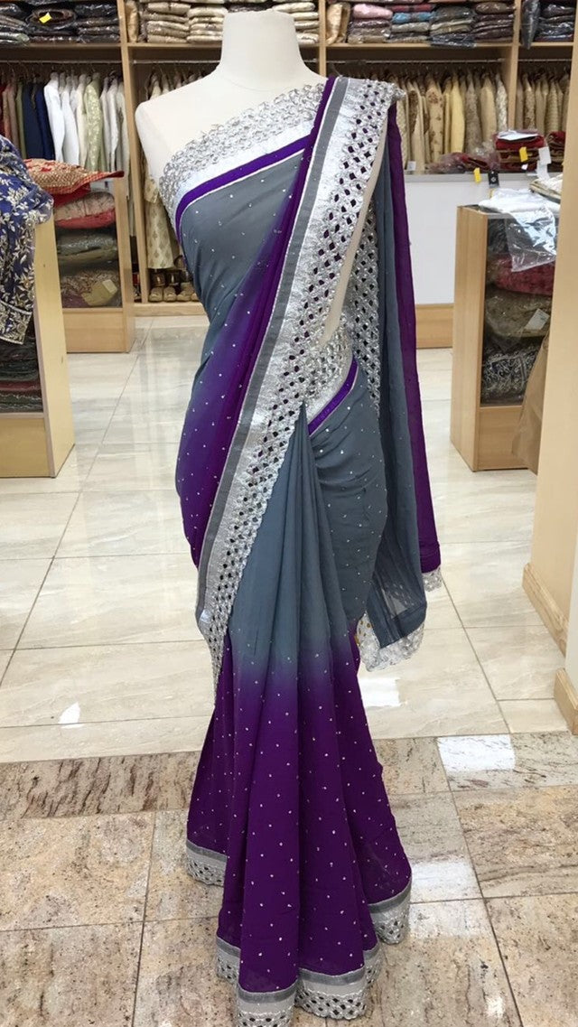 Ombre Purple Grey Bridesmaid's Saree