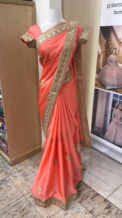 Peach Bridemaid's Saree