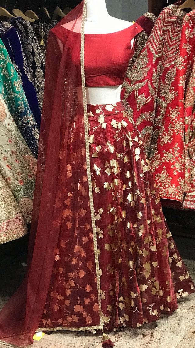 Maroon Off Shoulder Bridesmaid's Lehenga