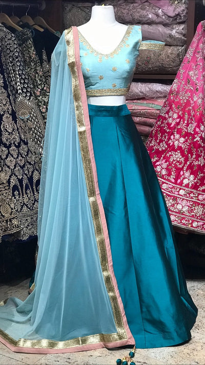 Sage and Teal Bridemaid's Lehenga