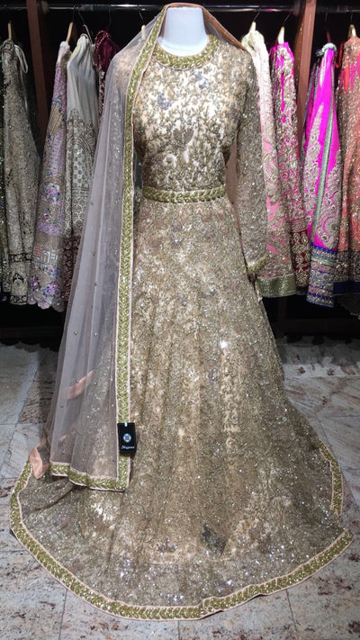 Gold Sequin Embroidery Gown
