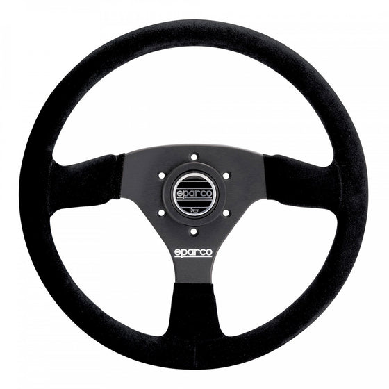 Sparco Model R 333 Steering Wheel, 3 Spoke, Black Suede