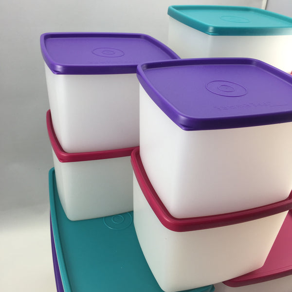 Vintage Tupperware Square Rounds and Freezer Diner Set