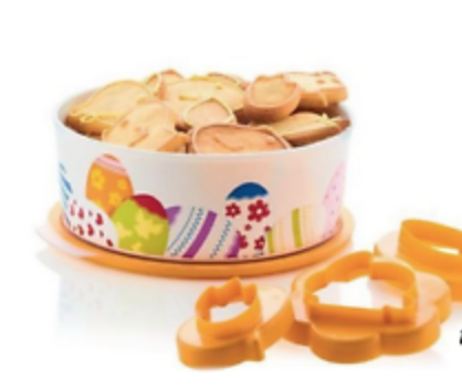 Tupperware Baseline Round Biscuit Canister - Easter Egg Theme