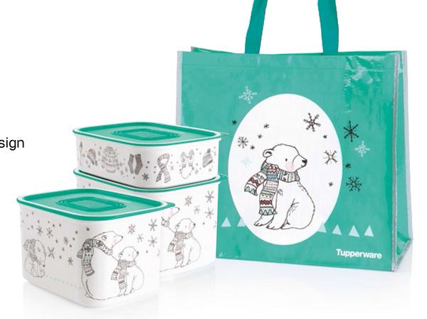 Tupperware Christmas Winter Wonderland Canister Set