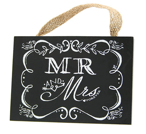 4x5.5 Hanging Chalk Plaque Mr. & Mrs. - Enchanted Illuminations