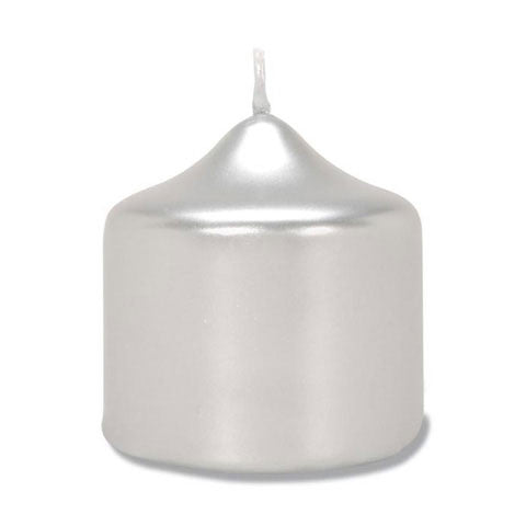 2.8 X 3 Silver Metallic Pillar Candle - Enchanted Illuminations