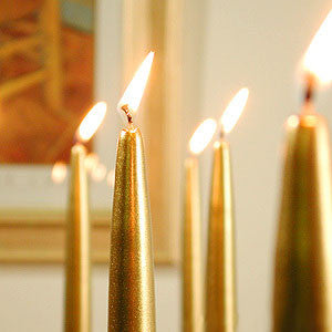 "14.5"" Gold Metallic Taper Candle - Enchanted Illuminations"