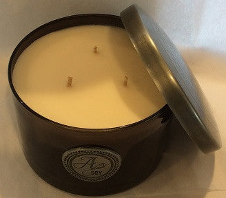 24 Carat 3 Wick Brown Glass and Hammered Metal Candle - Enchanted Illuminations