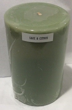 4x6 Sage & Citrus Scented Pillar - Enchanted Illuminations
