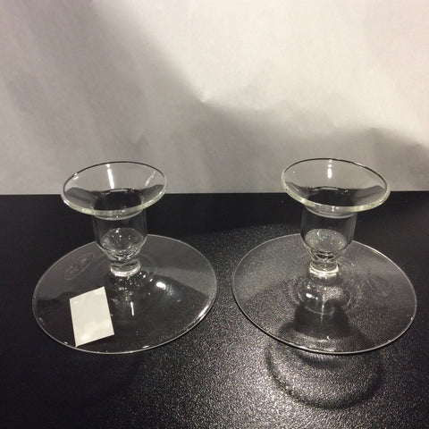 Hand Blown Glass Short Candlestick Holder Pair - Enchanted Illuminations