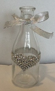 Silver Heart Milk Bottle Vase - Enchanted Illuminations