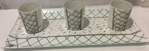 White & Silver Glitter Tray & 3 PC Votive Cup Set - Enchanted Illuminations
