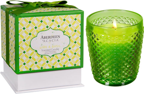 Lime & Basil Aberdeen Acacia Filled Candle Container with Gift Box - Enchanted Illuminations