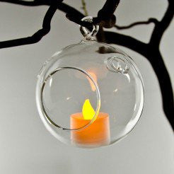 "Hanging Glass Globe Votive Holder 4.5"" - Enchanted Illuminations - 1"