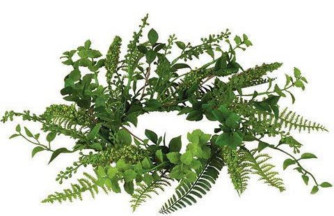"Mixed Foliage Candle Ring 6.5"" - Enchanted Illuminations"