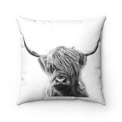Black and White Highland Cow Throw Pillow | The Chocolate Chicken | Modern Farmhouse Home Decor