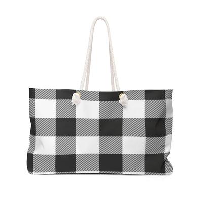 Black and White Checkered Weekender Bag