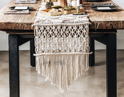 Handmade Vintage Macrame Table Runner | The Chocolate Chicken | Modern Farmhouse Home Decor