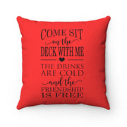 Come Sit On The Deck With Me Red Pillow | The Chocolate Chicken | Modern Farmhouse Home Decor