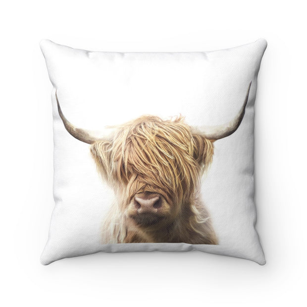 Rustic Country Brown Highland Cow Pillow | The Chocolate Chicken | Modern Farmhouse Home Decor